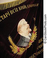 soviético, terciopelo, bandera, imagen, Lenin