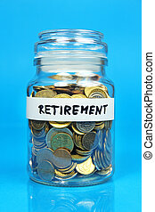 jar with coins with retirement label on blue background