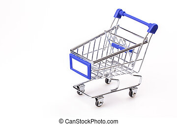Shopping cart - Blue shopping cart model on white...