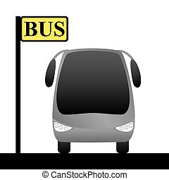 Illustration of a bus stop and bus