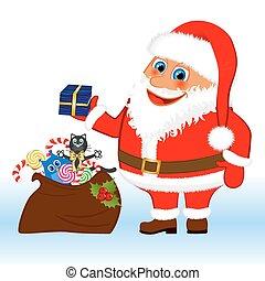 Klasus Santa with a bag and gifts