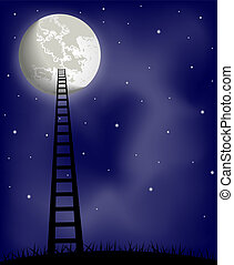Ladder to the moon, vector illustration