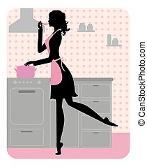 beautiful girl cooking - Silhouette of beautiful girl...