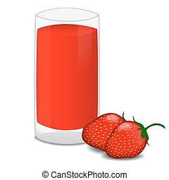 Glass of fresh strawberry juice