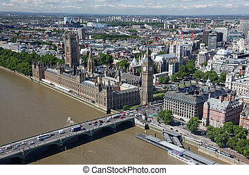 House of Parliament with Big Ben tower with Thames river in...