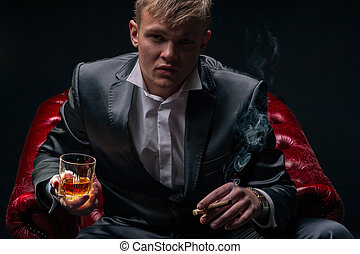 mafia, patron, rouges, chaise, dramatique, éclairage