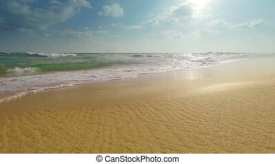 sea surf on a sandy beach - Video 1920x1080 - sea surf on a...