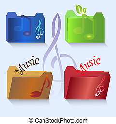 Vector set of color music vector icons.