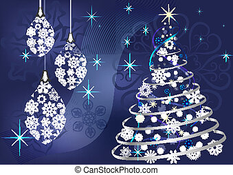 Christmas vector background with Christmas tree and hanging...