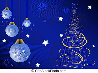 Christmas vector background with Christmas tree and glass...
