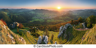 Landscape with rocky mountains at sunset in Slovakia -...