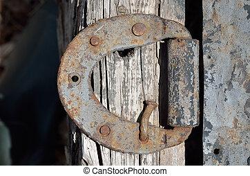Old door-hinge 6 - A close up of the old iron door-hinge.
