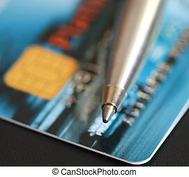 pen and credit card  - pen and credit card