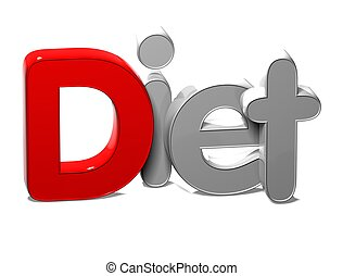3D Word Diet on white background