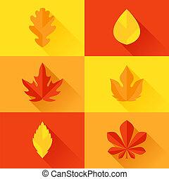 Autumn leaves in flat design style.