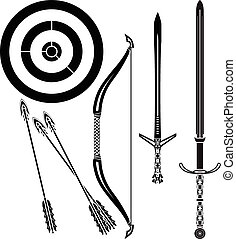 medieval bow and swords. stencil