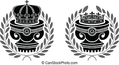 pedestals of crowns. stencils. second variant.