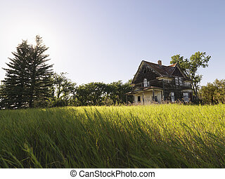 Abandoned farm house. - Abandoned farm house in rural field.