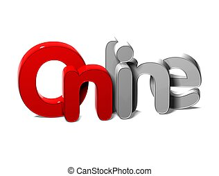 3D Word Online on white background