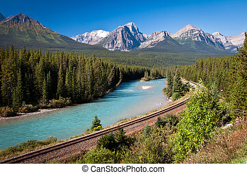 Railroad Banff - Canadian railway in Banff National Park