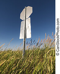 Road sign. - Back view of road sign in rural country.