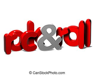 3D Word Rock And Roll on white background