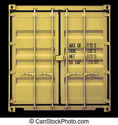 Container door - Perspective front view of yellow container...