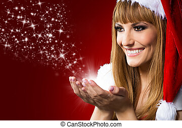 Close up portrait of beautiful sexy girl wearing santa claus clothes