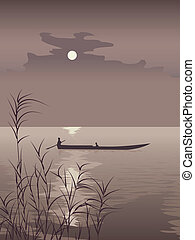 Boat on lake against the Moon. - Vector illustration boat on...