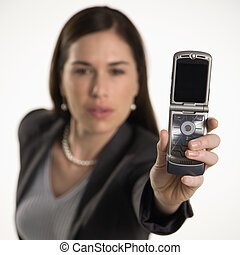 Woman and cell phone. - Caucasian mid adult professional...