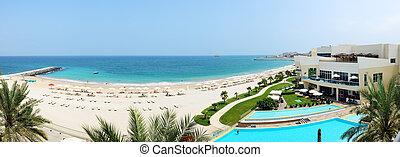 Panorama of the beach at luxury hotel, Fujairah, UAE