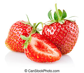 strawberry berries with cut and green leaf isolated on white...