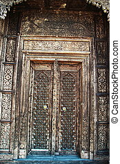 native antique wood craft door,Myanmar