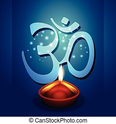 diwali diya with om symbol - vector diwali diya with om...