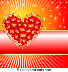 background  with a heart in the colors and rays