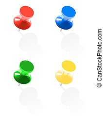 4 photo realistic colorful pins - Photo realistic colorful...