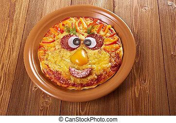Smiley Faced Pizza.Baby menu