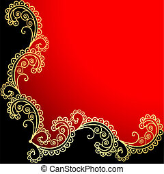 background with the frame with gold ornamentation -...