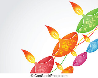 colorful diwali diya - stylish colorful diwali diya design