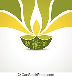 happy diwali greeting - vector green style happy diwali...