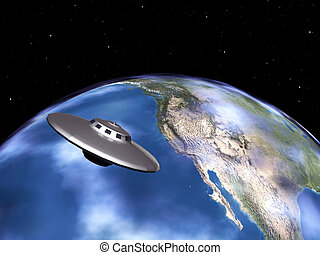 The Earth and Alien Spaceship - Computer generated 3D...