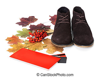 Black male shoes isolated on white background Autumn theme