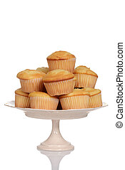 cupcakes on a cake stand with white background