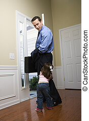 Businessman with daughter. - Caucasian businessman at open...