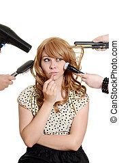 Multi tasking teen girl makeover - isolated Multi tasking...