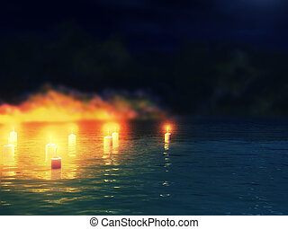 Candles in water - Abstract night background with 3d candles...