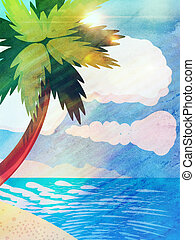 Grunge cartoon beach with palm