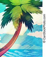 Grunge cartoon palm and sea