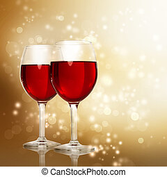 Glasses of Red Wine on Sparkling Golden Background - Two Red...