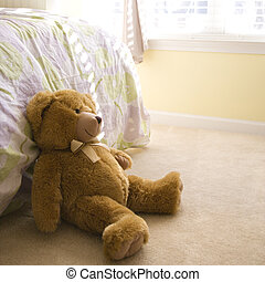 Teddy bear - Plush brown teddy bear on bedroom floor